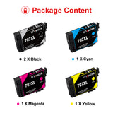 Uniwork Remanufactured Ink Cartridges Replacement for Epson 702 702XL T702XL T702 to use with Workforce Pro WF-3720 WF-3733 WF-3730 Printer (2 Black, 1 Cyan, 1 Magenta, 1 Yellow, 5-Pack)