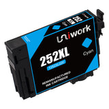 Uniwork Remanufactured Ink Cartridge Replacement for Epson 252 252XL T252XL use for Workforce Wf-3640 Wf-3620 Wf-7610 Wf-7620 Wf-7710 Wf-7720 Wf-7210 Wf-7110 (2 Black 1 Cyan 1 Magenta 1 Yellow) 5 Pack