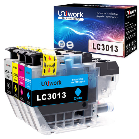 Uniwork Compatible Ink Cartridge Replacement for Brother LC3013 LC 3013 use for MFC-J491DW, MFC-J497DW, MFC-J690DW, MFC-J895DW Printer (1 Black, 1 Cyan, 1 Magenta, 1 Yellow), 4 Pack