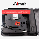 Uniwork TZe-251 Compatible for Brother TZe251 TZ-251 24mm (0.94 Inch) X 8m (26.2ft) Black on White P-touch Laminated Label Tape use for Brother PT-D600 PT-D600VP PT-P700 PT-P750W Label Maker (4 Pack)