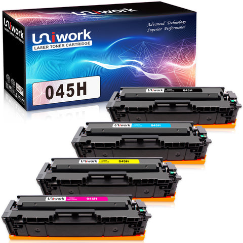 Uniwork Compatible Toner Cartridge Replacement for Canon 045 045H Cartridge 045 CRG-045H for Color imageCLASS MF634Cdw MF632Cdw LBP612Cdw MF632 MF634 Laser Printer Toner
