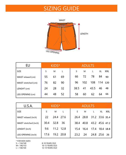 SEA'SONS color changing swimshorts sizing guide