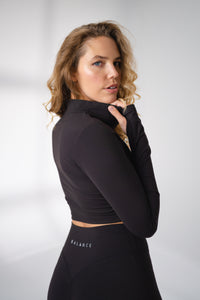 The Refine Cropped Zip - Midnight