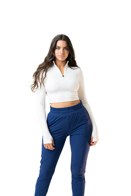 The Refine Cropped Zip - True North