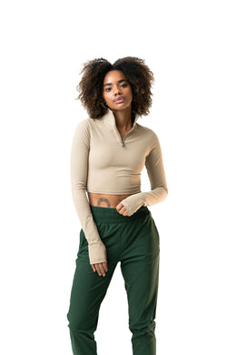 The Refine Cropped Zip - Dune