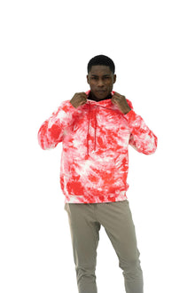 Load image into Gallery viewer, Balance Athletica Crew Sweatshirt The Maker Hood - Tie Dye Blood Orange