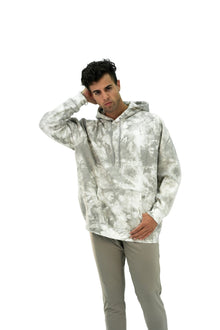 Load image into Gallery viewer, Balance Athletica Crew Sweatshirt The Maker Hood - Tie Dye Sea Salt