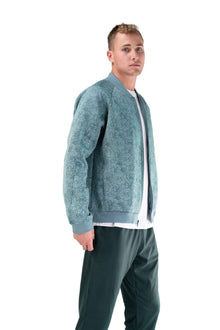 Load image into Gallery viewer, Balance Athletica Tops The Men's Flight Jacket - Lagoon - Fleur