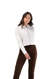 Load image into Gallery viewer, Balance Athletica Tops The Women's Flight Jacket - Cloud - Fleur