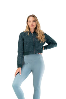 Load image into Gallery viewer, Balance Athletica Tops The Women's Flight Jacket - Deep Sea - Fleur