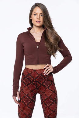 Balance Athletica Tops XS The Elevate Cropped Zip - Kodiak 109K-XS
