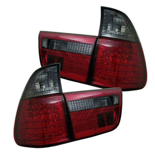 Spyder Spyder BMW E53 X5 00-06 4PCS LED Tail Lights - Red Smoke 5000811