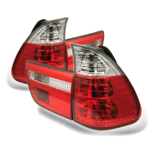 Spyder Spyder BMW E53 X5 00-06 4PCS Euro Style Tail Lights- Red Clear 5000835
