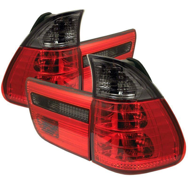Spyder Spyder BMW E53 X5 00-06 4PCS Euro Style Tail Lights- Red Smoke 5000842