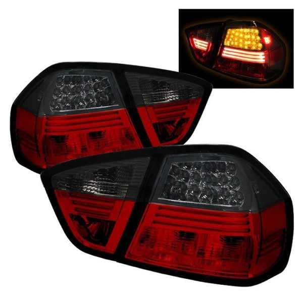 Spyder Spyder BMW E90 3-Series 06-08 4Dr LED Tail Lights - Red Smoke 5000910
