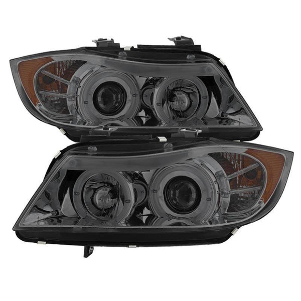 Spyder Spyder BMW E90 3-Series 06-08 4DR Projector Headlights - Amber Reflector - Smoke 5009029