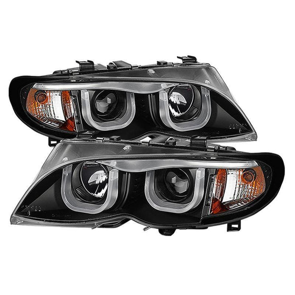 Spyder Spyder BMW E46 3-Series 02-05 4DR Projector Headlights 1PC - 3D - Black  - Low H7 (Not Included) 5031877