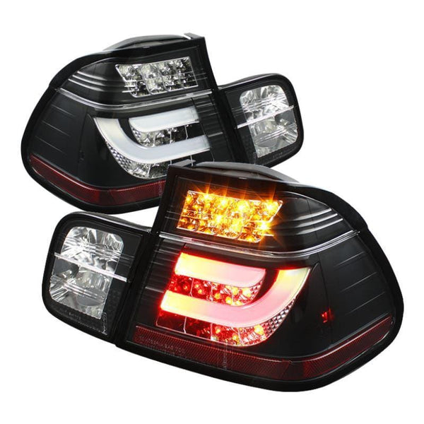 Spyder Spyder BMW E46 3-Series 99-01 4Dr Light Bar Style LED Tail Lights - Black 5037695