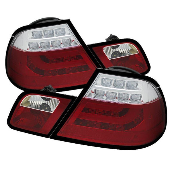 Spyder Spyder BMW E46 00-03 2Dr Coupe Light Bar LED Tail Lights - Red Clear 5073822