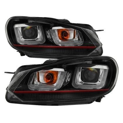 Spyder Spyder Volkswagen Golf / GTI 10-13 Version 3 Projector Headlights - Dual U DRL - Black 5082046