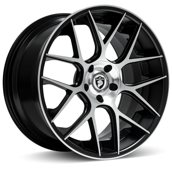 "Bavaria Wheels 20x8.5 - 5x112 - et35 - cb66.56 Bavaria Wheels BC7M - 20"" - Satin Black Machined BC720855112P35SBM"