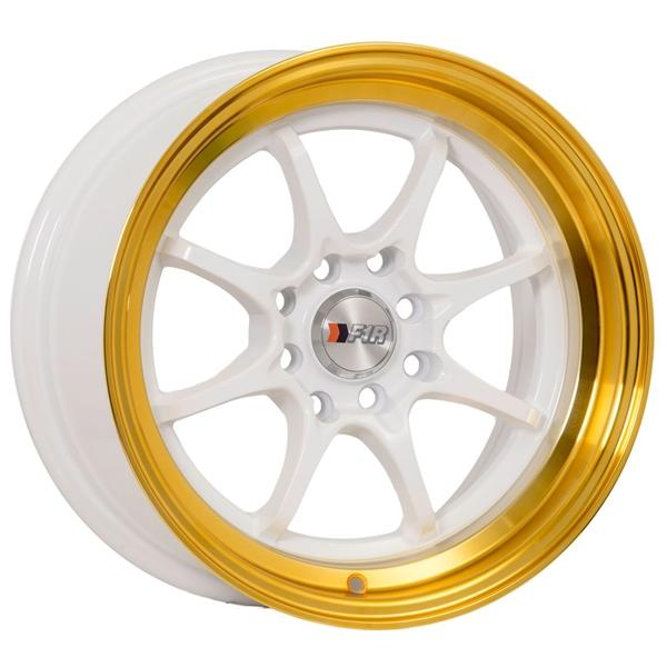 "F1R F03 15x8 ET25 4x100/114.3 White/Gold Lip F1R F03 15"" White/Gold Lip F03158WG25"