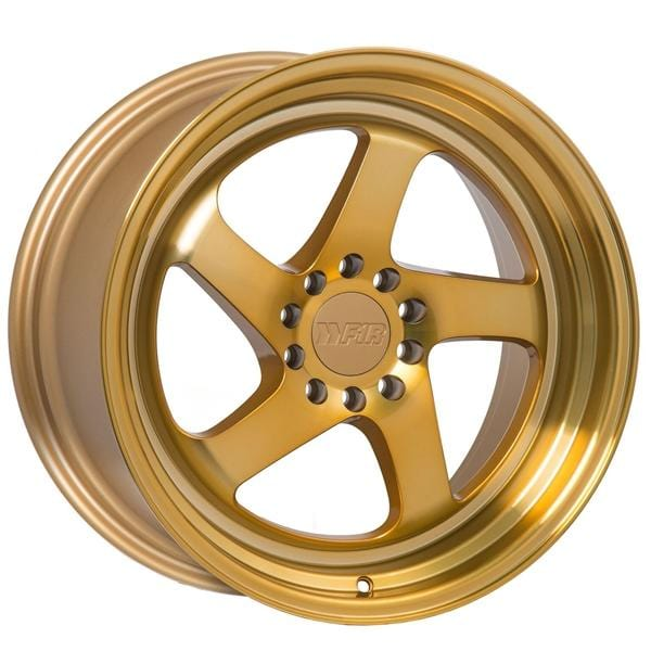 "F1R F28 18x10.5 ET20 5x100/114.3 Machined Gold F1R F28 18"" Machine Gold F2818105MG20"