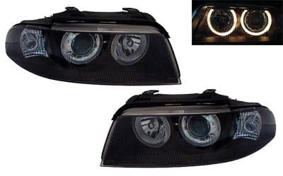 Helix 1996-1998 - Add 5-Pin Adapter (HWR-AU5R.8D) Black Ecode Projector Headlights w/Angel Eyes | B5 Audi A4 | S4 HXAUA4B5HL-AEB