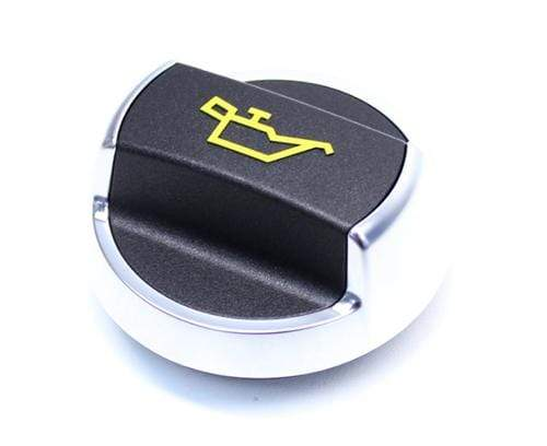OE Part Aluminum Trim Porsche Oil Cap | Brushed with Yellow Logo Oil_Cap_Brushed