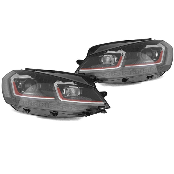 Helix Helix Mk7.5 Golf GTi Projector Headlights with Red Trim HVWG75HL-RD2