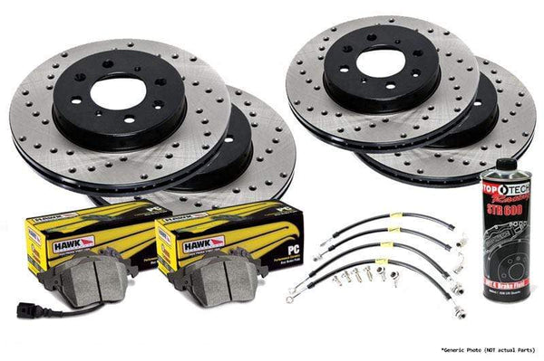 Stoptech Stoptech Cross Drilled Rotor Kit with Hawk Pads | Mk6 Golf R Stoptech_Mk6-Golf-R