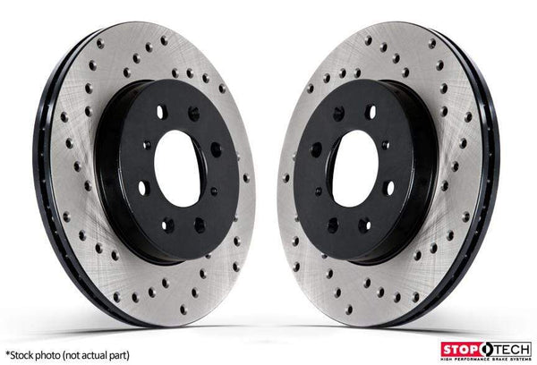 Stoptech No Thanks Rear Stoptech Cross Drilled Rotors - Set of 2 Rotors (282x12mm) 128.33099L-R
