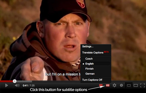 "Click the ""CC"" -button for subtitles."