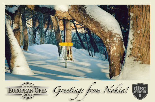 "Snowy hole 7 green from Nokia DiscGolfParkâ""¢. Original photo credit: Eino Ansio."