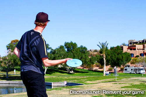 Team Discmania's Seppo Paju lining up for a sidearm shot w/ the new S-PD2