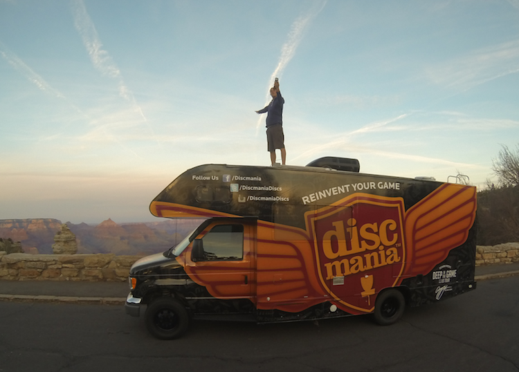 Simon enjoying tour life on top of the #discmaniatour motorhome at Grand Canyon
