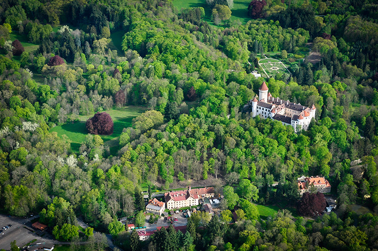 Some more aerial scenery with the Konopiště Castle and its surroundings.