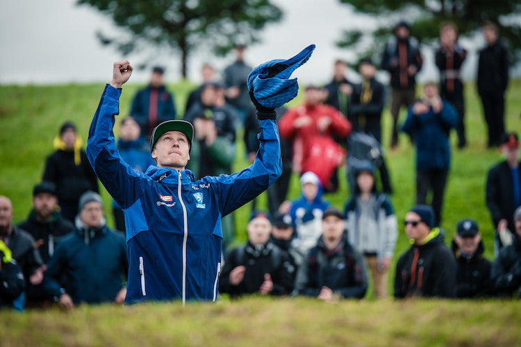 Leo celebrating after making the final putt for the 2016 European Championship in August. Photo: Eino Ansio.