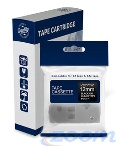 Premium Compatible Brother TZe131, TZ131 Black Text on Clear Laminated Tape