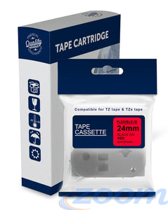 Premium Compatible Brother TZeFX451, TZFX451 Black Text on Flexible ID Red Laminated Tape