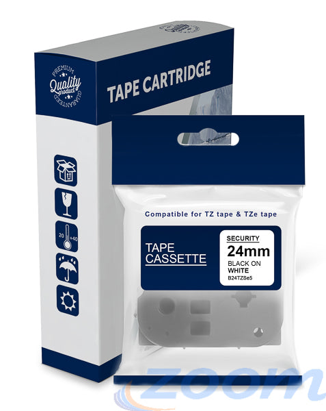 Premium Compatible Brother TZSe5, TZS5 Black Text on White Tamper Evident Laminated Tape