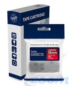 Premium Compatible Brother TZe262, TZ262 Red Text on White Laminated Tape