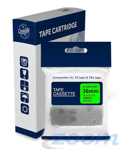 Premium Compatible Brother TZeD61, TZD61 Black Text on Fluorescent Green Laminated Tape