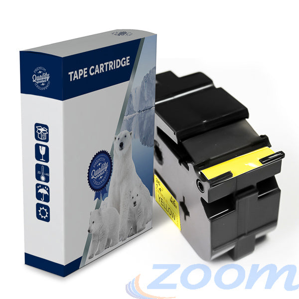 Premium Compatible Brother TZeFX661, TZFX661 Black Text on Flexible ID Yellow Laminated Tape