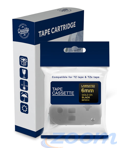 Premium Compatible Brother TZe314, TZ314 Gold Text on Black Laminated Tape