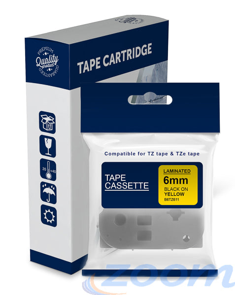 Premium Compatible Brother TZe611, TZ611 Black Text on Yellow Laminated Tape