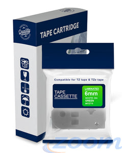 Premium Compatible Brother TZe715, TZ715 White Text on Green Laminated Tape