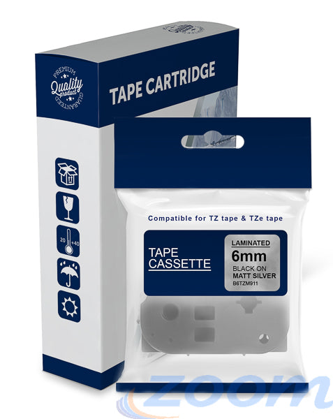 Premium Compatible Brother TZeM911, TZM911 Black Text on Matt Silver Laminated Tape