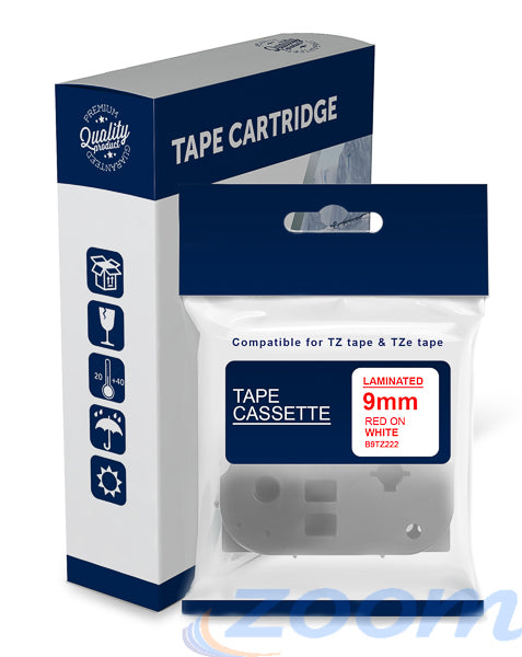 Premium Compatible Brother TZe222, TZ222 Red Text on White Laminated Tape