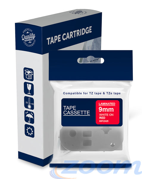 Premium Compatible Brother TZe425, TZ425 White Text on Red Laminated Tape